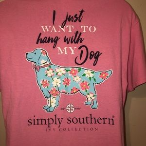 Simply Southern pink dog shirt XL
